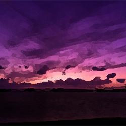 紫の空と海に浮かぶ黒いもの 俺怖 [洒落怖・怖い話 まとめ]